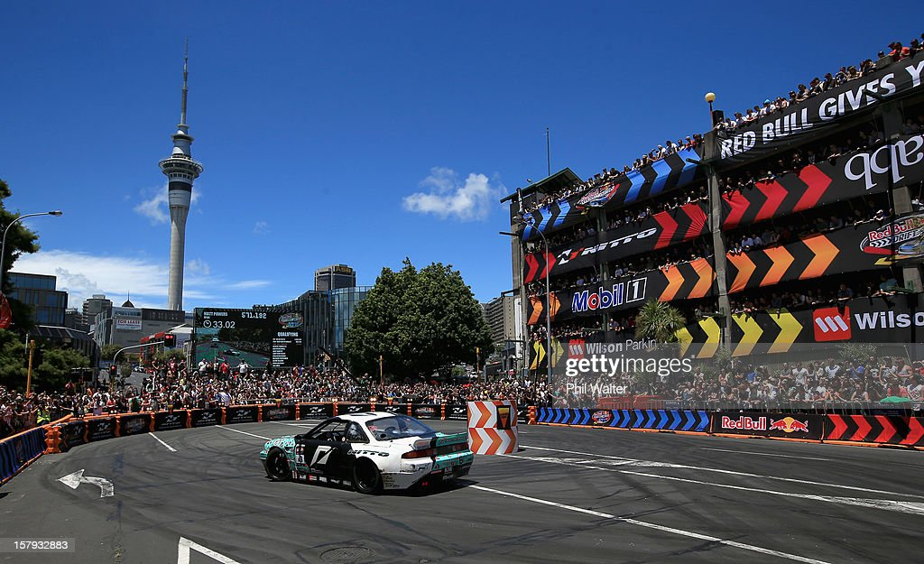 Matt Powers of the USA competes in the Red Bull Drift Shifters along Victoria Street on December 8, 2012 in Auckland, New Zealand.