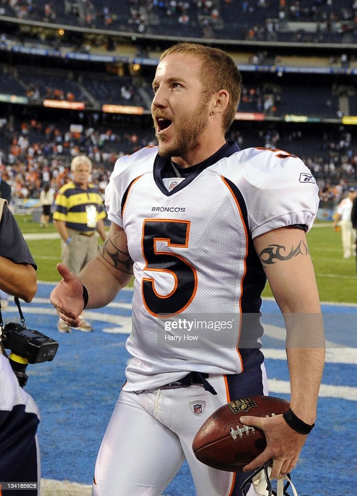 <a gi-track='captionPersonalityLinkClicked' href=/galleries/search?phrase=Matt+Prater&family=editorial&specificpeople=4408897 ng-click='$event.stopPropagation()'>Matt Prater</a> #5 of the Denver Broncos smiles as he leaves the field after kicking the game winning field goal in overtime against the San Diego Chargers for a 16-13 win at Qualcomm Stadium on November 27, 2011 in San Diego, California.
