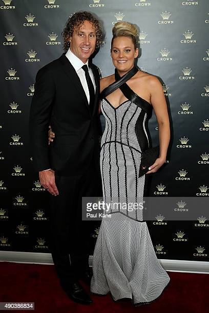 Matt Priddis and his wife Ash arrive at the 2015 Brownlow Medal Function at Crown Perth on September 28 2015 in Perth Australia