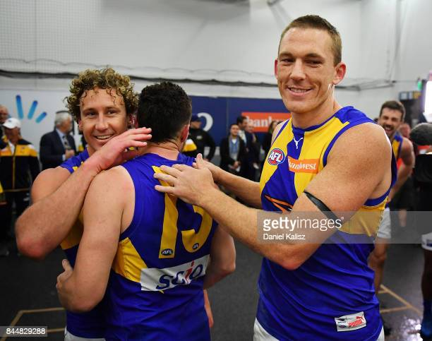 Matt Priddis Luke Shuey and Drew Petrie of the Eagles celebrate after the AFL First Elimination Final match between Port Adelaide Power and West...