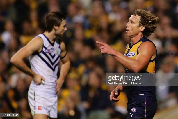 Matt Priddis of the Eagles celebrates after scoring a goal during the round six AFL match between the West Coast Eagles and the Fremantle Dockers at...