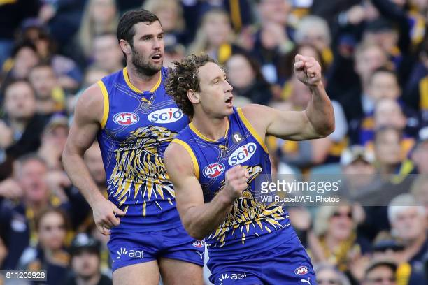 Matt Priddis of the Eagles celebrates prematurely after hitting the post during the round 16 AFL match between the West Coast Eagles and the Port...