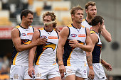 Matt Priddis of the Eagles celebrates with team mates during the round 13 AFL match between the Brisbane Lions and the West Coast Eagles at The Gabba...