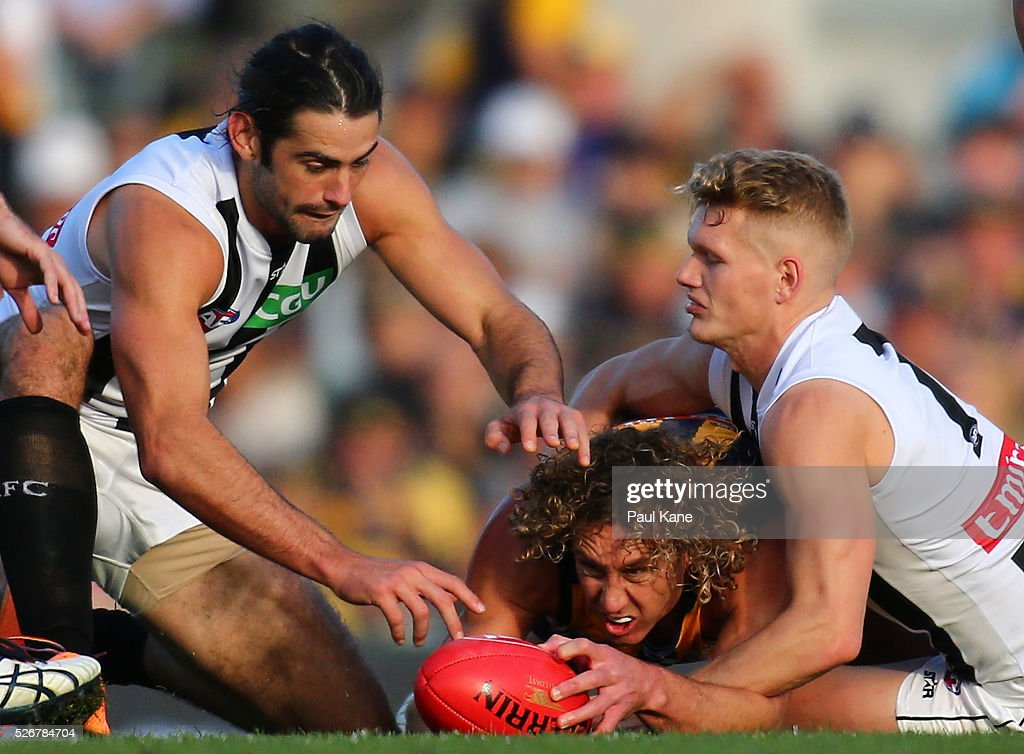 Matt Priddis of the Eagles contests for the ball against Brodie Grundy and Adam Treloar of the Magpies during the round six AFL match between the West Coast Eagles and the Collingwood Magpies at Domain Stadium on May 1, 2016 in Perth, Australia.