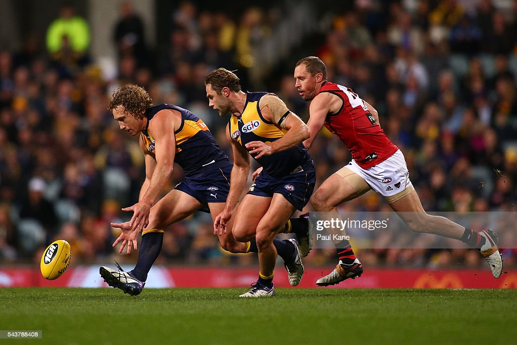 <a gi-track='captionPersonalityLinkClicked' href=/galleries/search?phrase=Matt+Priddis&family=editorial&specificpeople=4155904 ng-click='$event.stopPropagation()'>Matt Priddis</a> of the Eagles runs onto the ball during the round 15 AFL match between the West Coast Eagles and the Essendon Bombers at Domain Stadium on June 30, 2016 in Perth, Australia.
