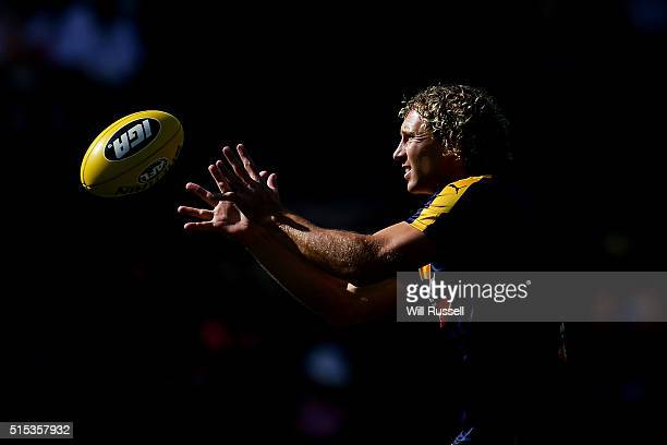 Matt Priddis of the Eagles warms up before the 2016 NAB Challenge match between the West Coast Eagles and the Essendon Bombers at Domain Stadium...