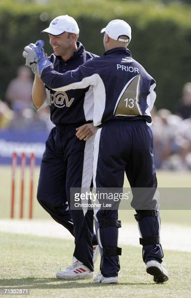 Matt Prior and captain Chris Adams of Sussex celebrate after Middlesex's innings during the Twenty20 Cup 2006 match between Middlesex Crusaders and...