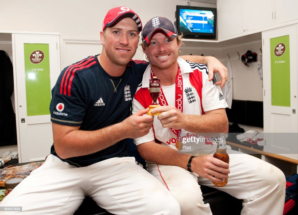 Matt Prior and Ian Bell of England celebrate with the Ashes Urn in the changing room following the fifth npower Test Match at the Oval on august 23, 2009 in London, England.
