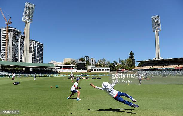 Matt Prior and Joe Root of England take part in a fielding drill during an England nets session at WACA on December 11 2013 in Perth Australia