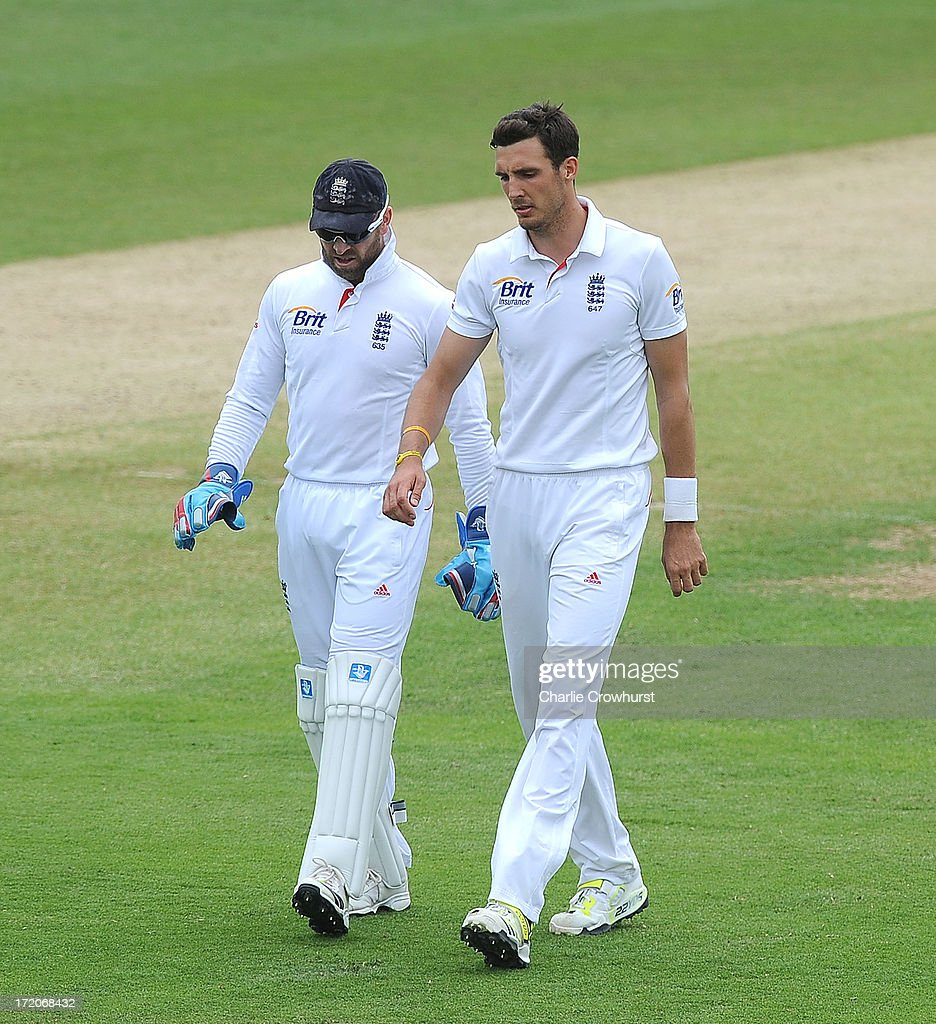 <a gi-track='captionPersonalityLinkClicked' href=/galleries/search?phrase=Matt+Prior+-+Cricket+Player&family=editorial&specificpeople=13652111 ng-click='$event.stopPropagation()'>Matt Prior</a> and Steven Finn of England chat during the LV=Challenge Day 2 match between Essex and England at Ford County Ground on July 01, 2013 in Chelmsford, England.