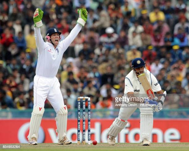 Matt Prior appeals for the wicket of Rahul Dravid during the first day of the second test at the Punjab Cricket Association Stadium Mohali India