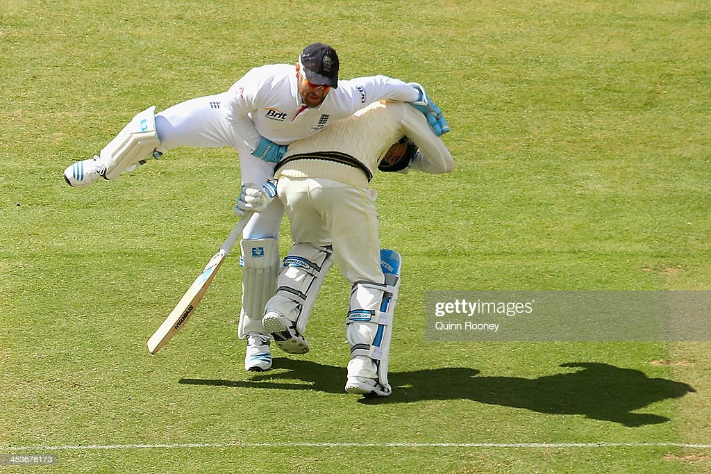 <a gi-track='captionPersonalityLinkClicked' href=/galleries/search?phrase=Matt+Prior+-+Cricket+Player&family=editorial&specificpeople=13652111 ng-click='$event.stopPropagation()'>Matt Prior</a> of England and Michael Clarke of Australia run into each other during day one of the Second Ashes Test Match between Australia and England at Adelaide Oval on December 5, 2013 in Adelaide, Australia.