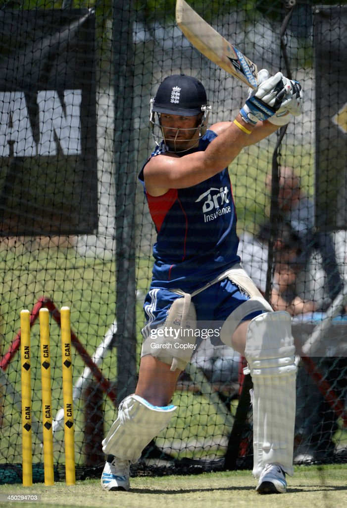 Matt Prior of England bats during an England nets session at The Gabba on November 18, 2013 in Brisbane, Australia.