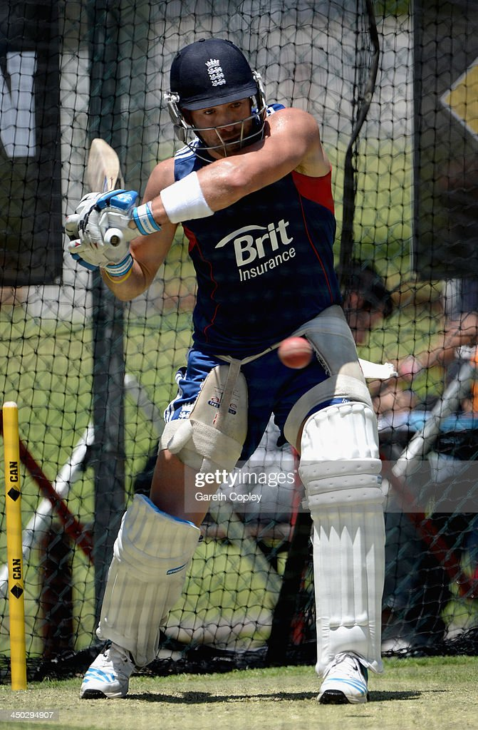 <a gi-track='captionPersonalityLinkClicked' href=/galleries/search?phrase=Matt+Prior+-+Cricket+Player&family=editorial&specificpeople=13652111 ng-click='$event.stopPropagation()'>Matt Prior</a> of England bats during an England nets session at The Gabba on November 18, 2013 in Brisbane, Australia.