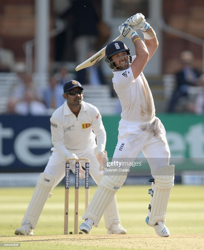 Matt Prior of England bats during day one of 1st Investec Test match between England and Sri Lanka at Lord's Cricket Ground on June 12, 2014 in London, England.