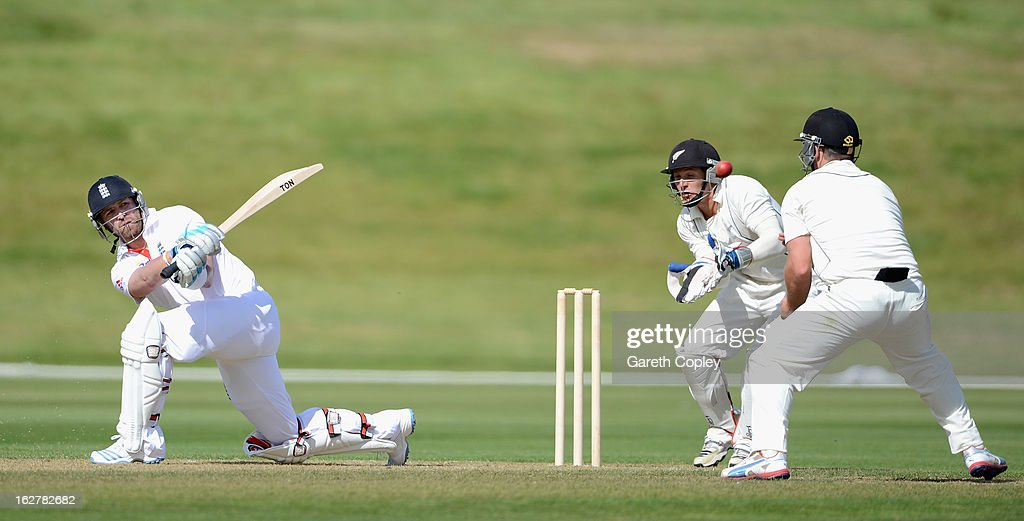 <a gi-track='captionPersonalityLinkClicked' href=/galleries/search?phrase=Matt+Prior+-+Cricket+Player&family=editorial&specificpeople=13652111 ng-click='$event.stopPropagation()'>Matt Prior</a> of England bats during the International tour match between New Zealand XI and England at Queenstown Events Centre on February 27, 2013 in Queenstown, New Zealand.