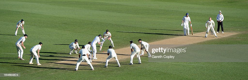 <a gi-track='captionPersonalityLinkClicked' href=/galleries/search?phrase=Matt+Prior+-+Cricket+Player&family=editorial&specificpeople=13652111 ng-click='$event.stopPropagation()'>Matt Prior</a> of England blocks a ball from <a gi-track='captionPersonalityLinkClicked' href=/galleries/search?phrase=Kane+Williamson&family=editorial&specificpeople=4738503 ng-click='$event.stopPropagation()'>Kane Williamson</a> of New Zealand during day five of the Third Test match between New Zealand and England at Eden Park on March 26, 2013 in Auckland, New Zealand.