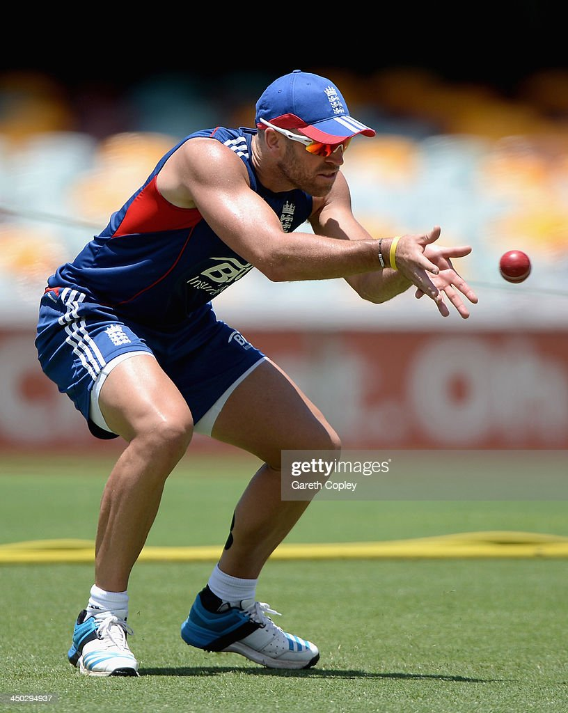 <a gi-track='captionPersonalityLinkClicked' href=/galleries/search?phrase=Matt+Prior+-+Cricket+Player&family=editorial&specificpeople=13652111 ng-click='$event.stopPropagation()'>Matt Prior</a> of England catches balls during an England nets session at The Gabba on November 18, 2013 in Brisbane, Australia.
