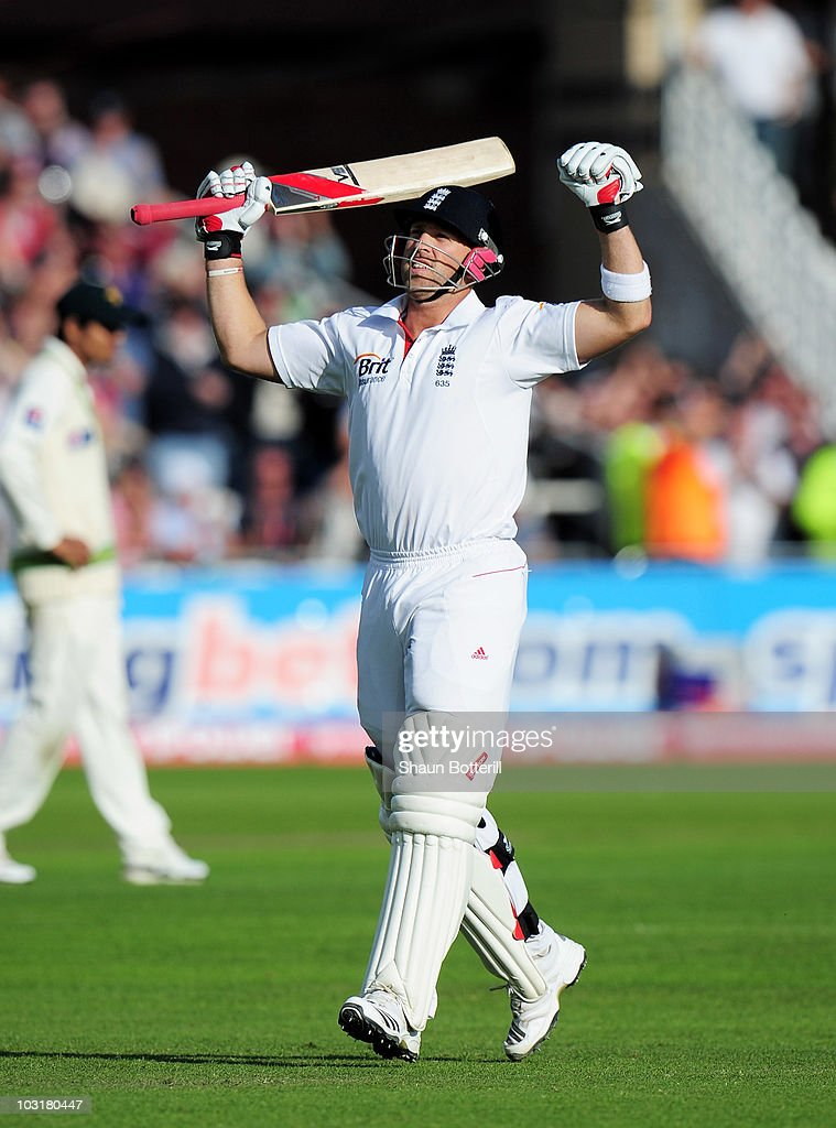 <a gi-track='captionPersonalityLinkClicked' href=/galleries/search?phrase=Matt+Prior+-+Cricket+Player&family=editorial&specificpeople=13652111 ng-click='$event.stopPropagation()'>Matt Prior</a> of England celebrates his century during day three of the npower 1st Test Match between England and Pakistan at Trent Bridge on July 31, 2010 in Nottingham, England.