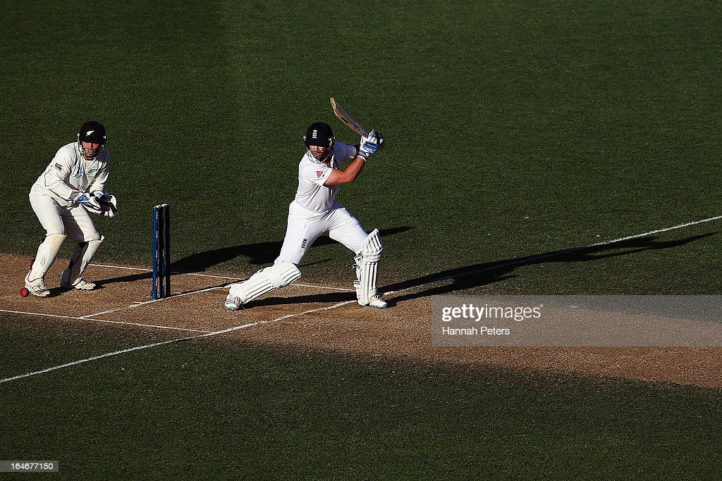 <a gi-track='captionPersonalityLinkClicked' href=/galleries/search?phrase=Matt+Prior+-+Cricket+Player&family=editorial&specificpeople=13652111 ng-click='$event.stopPropagation()'>Matt Prior</a> of England cuts the ball away for four runs during day five of the Third Test match between New Zealand and England at Eden Park on March 26, 2013 in Auckland, New Zealand.