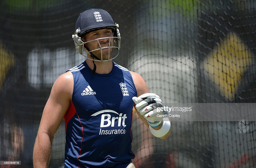 <a gi-track='captionPersonalityLinkClicked' href=/galleries/search?phrase=Matt+Prior+-+Cricket+Player&family=editorial&specificpeople=13652111 ng-click='$event.stopPropagation()'>Matt Prior</a> of England during an England nets session at The Gabba on November 18, 2013 in Brisbane, Australia.