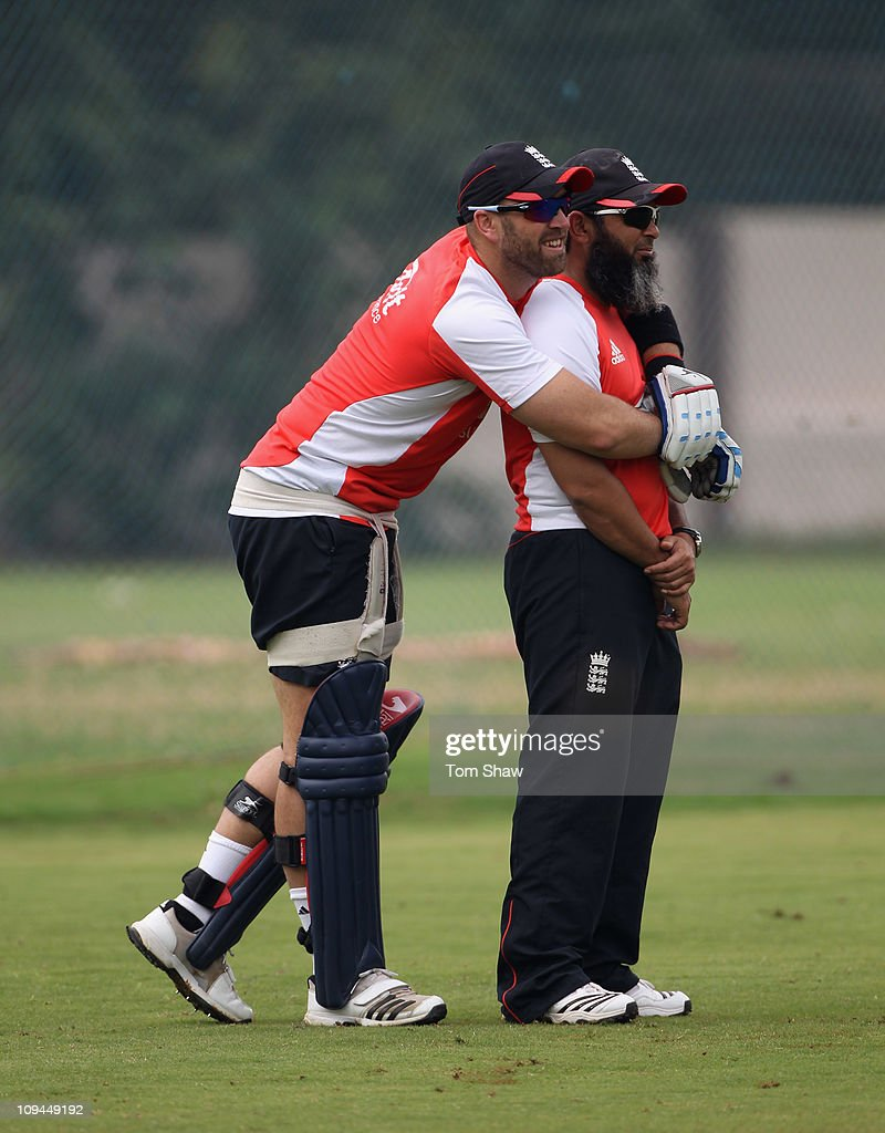 Matt Prior of England has a chat with bowling coach Mushtaq Ahmed during the England nets session at the M Chinnaswamy Stadium on February 26 2011 in...