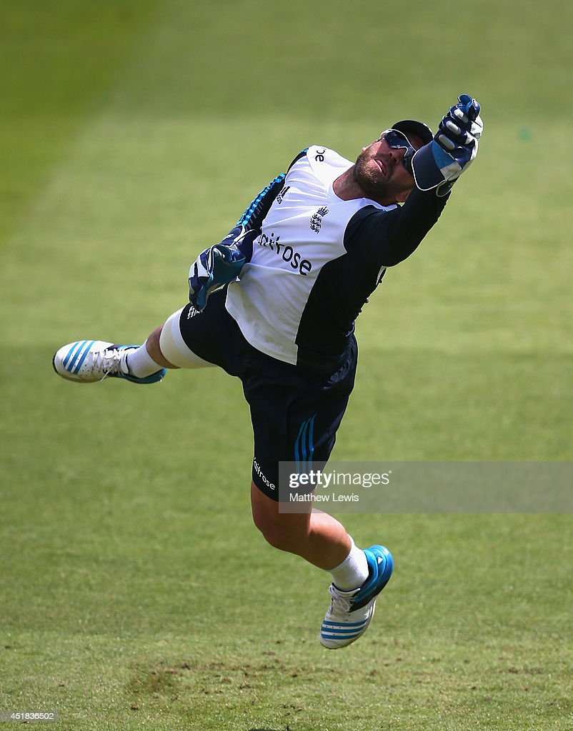 Matt Prior of England in action during an England nets session ahead of the first Investec Test Series at Trent Bridge on July 8, 2014 in Nottingham, England.