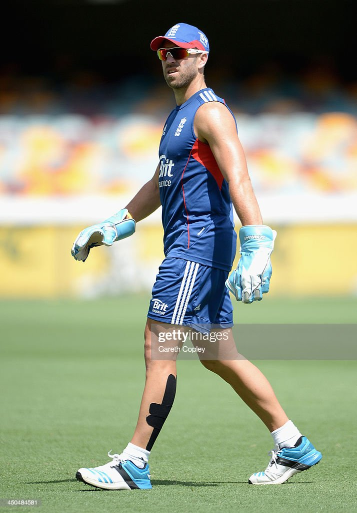 <a gi-track='captionPersonalityLinkClicked' href=/galleries/search?phrase=Matt+Prior+-+Cricket+Player&family=editorial&specificpeople=13652111 ng-click='$event.stopPropagation()'>Matt Prior</a> of England keeps wicket during an England nets session at The Gabba on November 19, 2013 in Brisbane, Australia.