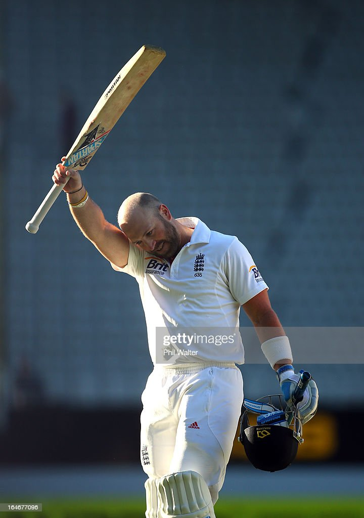 <a gi-track='captionPersonalityLinkClicked' href=/galleries/search?phrase=Matt+Prior+-+Cricket+Player&family=editorial&specificpeople=13652111 ng-click='$event.stopPropagation()'>Matt Prior</a> of England leaves the field at the end of day five of the Third Test match between New Zealand and England at Eden Park on March 26, 2013 in Auckland, New Zealand.