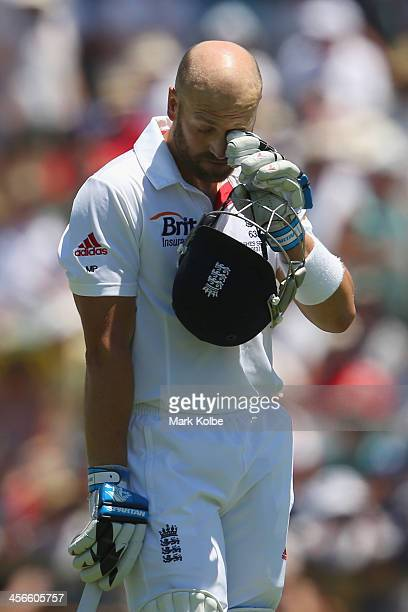 Matt Prior of England looks dejected as he leaves the field after being dismissed during day three of the Third Ashes Test Match between Australia...