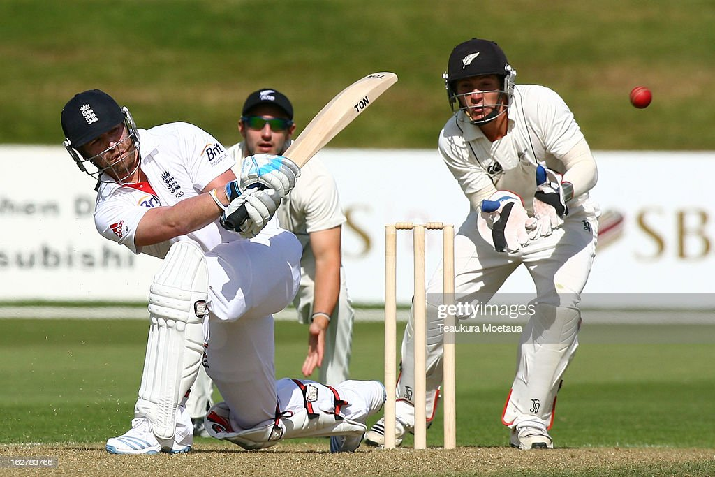 <a gi-track='captionPersonalityLinkClicked' href=/galleries/search?phrase=Matt+Prior+-+Cricket+Player&family=editorial&specificpeople=13652111 ng-click='$event.stopPropagation()'>Matt Prior</a> of England plays to the onside during the International tour match between New Zealand XI and England at Queenstown Events Centre on February 27, 2013 in Queenstown, New Zealand.