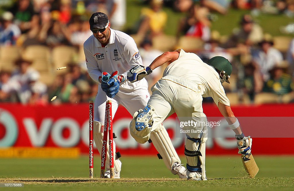 Matt Prior of England removes the bails to run out Xavier Doherty of Australia during day one of the Second Ashes Test match between Australia and England at Adelaide Oval on December 3, 2010 in Adelaide, Australia.
