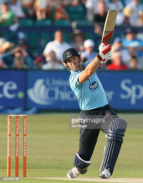 Matt Prior of Sussex hits out during the Friends Provident T20 match between Sussex and Kent at the County Ground on June 27 2010 in Hove England