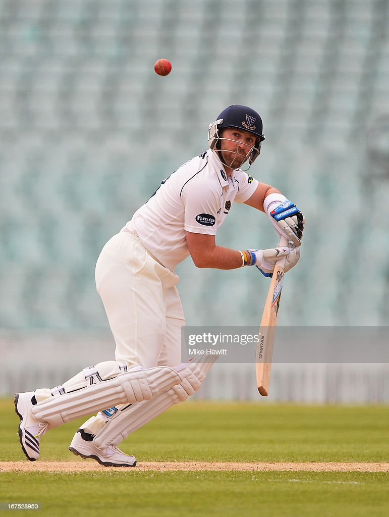 Matt Prior of Sussex on his way to a swift 60 during day three of the LV County Championship Division One match between Surrey and Sussex at The Kia Oval on April 26, 2013 in London, England.