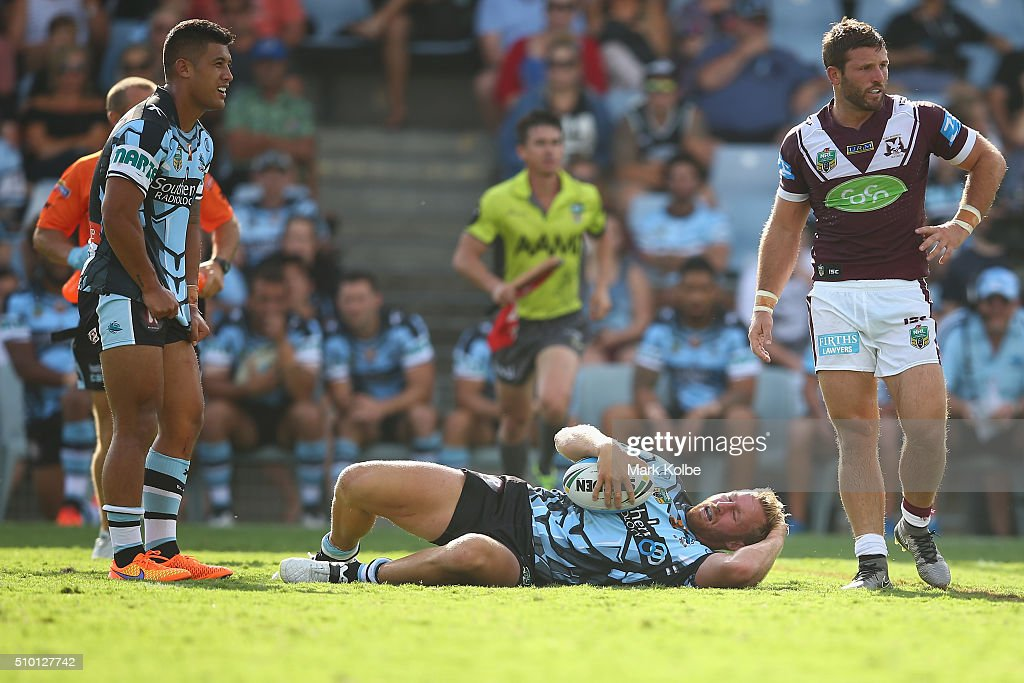 <a gi-track='captionPersonalityLinkClicked' href=/galleries/search?phrase=Matt+Prior+-+Rugby+Player&family=editorial&specificpeople=13652124 ng-click='$event.stopPropagation()'>Matt Prior</a> of the Sharks grimaces as he holds his head after a tackle during the NRL Trial match between the Cronulla Sharks and the Manly Sea Eagles at Remondis Stadium on February 14, 2016 in Sydney, Australia.