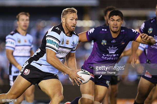 Matt Prior of the Sharks runs the ball during the round four NRL match between the Cronulla Sharks and the Melbourne Storm at Southern Cross Group...