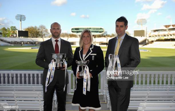 Matt Prior with his ECB Cricketer of the Year Award Katherine Brunt with her ECB Womens Cricketer of the Year and Matthew Dean with his ECB...