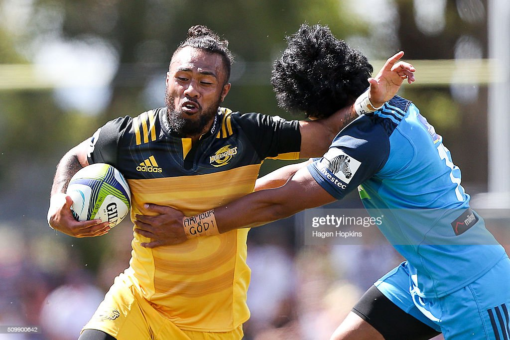 <a gi-track='captionPersonalityLinkClicked' href=/galleries/search?phrase=Matt+Proctor&family=editorial&specificpeople=9837904 ng-click='$event.stopPropagation()'>Matt Proctor</a> of the Hurricanes is tackled by Matt Vaega of the Blues during the Super Rugby pre-season match between the Blues and the Hurricanes at Eketahuna Rugby Club on February 13, 2016 in Eketahuna, New Zealand.