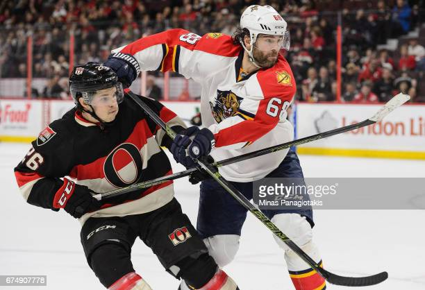 Matt Puempel of the Ottawa Senators plays in the game against Jaromir Jagr of the Florida Panthers at Canadian Tire Centre on April 7 2016 in Ottawa...