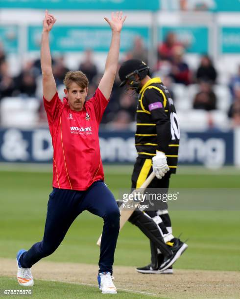 Matt Quinn of Essex celebrates taking the wicket of Jack Taylor during the Royal London OneDay Cup between Essex Eagles and Gloucestershire at...