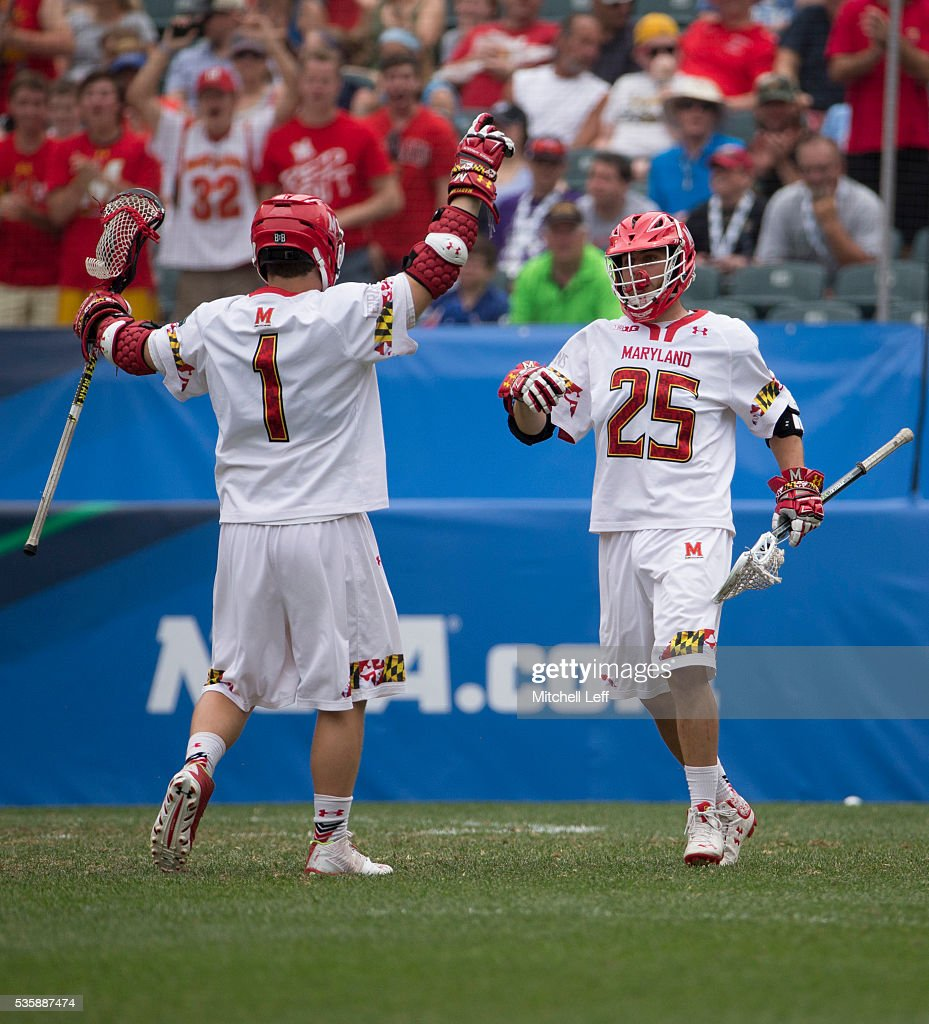 Matt Rambo #1 and Dylan Maltz #25 of the Maryland Terrapins react after a goal against the North Carolina Tar Heels in the NCAA Division I Men's Lacrosse Championship at Lincoln Financial Field on May 30, 2016 in Philadelphia, Pennsylvania.