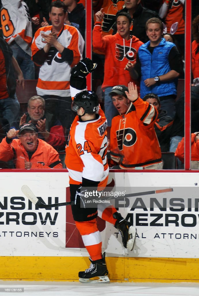 Matt Read of the Philadelphia Flyers celebrates his first period goal against the Washington Capitals on March 31 2013 at the Wells Fargo Center in...