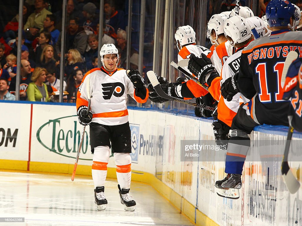 Matt Read #24 of the Philadelphia Flyers celebrates his goal against the New York Islanders during their game at Nassau Veterans Memorial Coliseum on February 18, 2013 in Uniondale, New York.