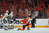 Matt Read of the Philadelphia Flyers celebrates his goal at 1540 of the first period against the Pittsburgh Penguins in Game Three of the Eastern...