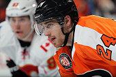 Matt Read of the Philadelphia Flyers looks on against the Calgary Flames on February 29 2016 at the Wells Fargo Center in Philadelphia Pennsylvania