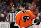 Matt Read of the Philadelphia Flyers looks on against the New York Islanders on November 23 2013 at the Wells Fargo Center in Philadelphia...