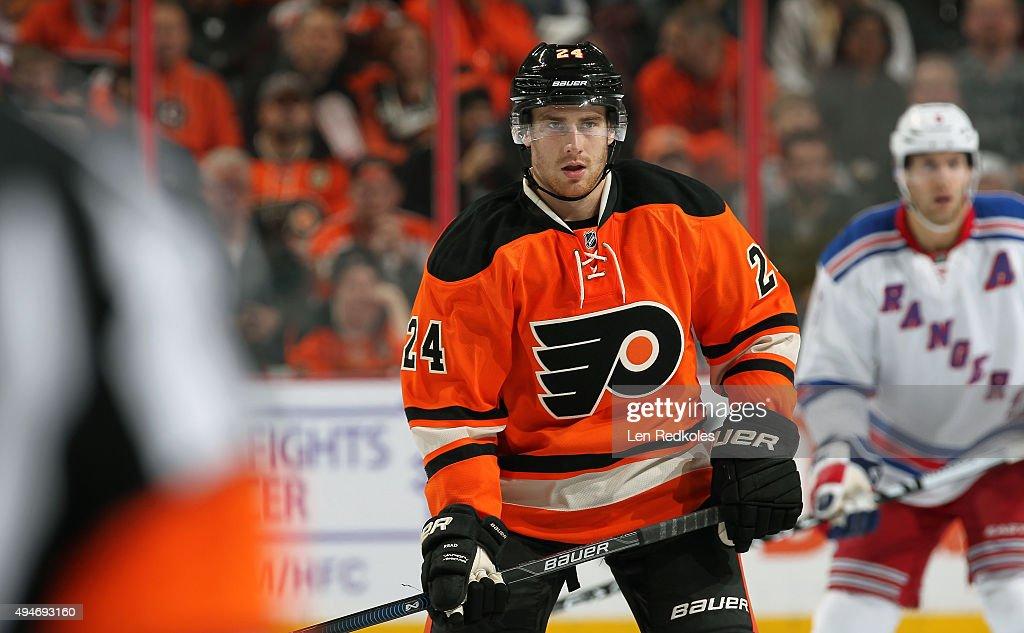 Matt Read of the Philadelphia Flyers looks on against the New York Rangers on October 24 2015 at the Wells Fargo Center in Philadelphia Pennsylvania