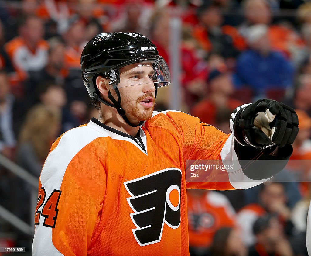 Matt Read of the Philadelphia Flyers looks on before a face off against the Washington Capitals at Wells Fargo Center on March 5 2014 in Philadelphia...