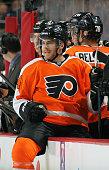 Matt Read of the Philadelphia Flyers looks on from his bench against the Winnipeg Jets on January 29 2015 at the Wells Fargo Center in Philadelphia...