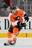 Matt Read of the Philadelphia Flyers skates against the Columbus Blue Jackets on November 14 2014 at the Wells Fargo Center in Philadelphia...